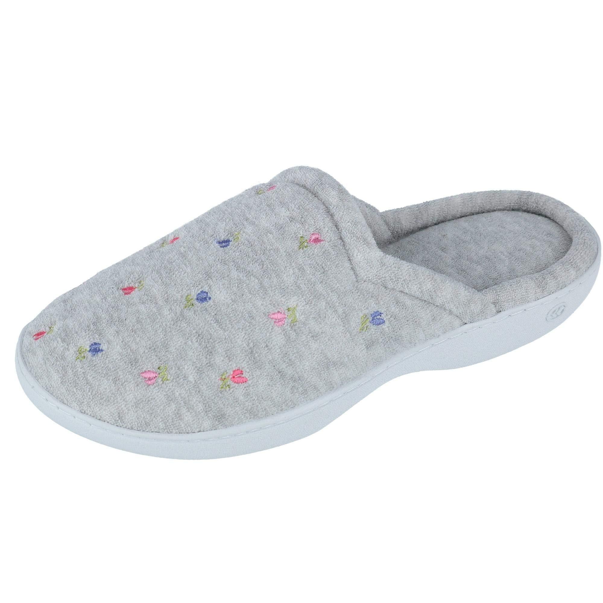 isotoner Women's TerrySlip on Clog Slipper with Memory Foam for Indoor/Outdoor Comfort