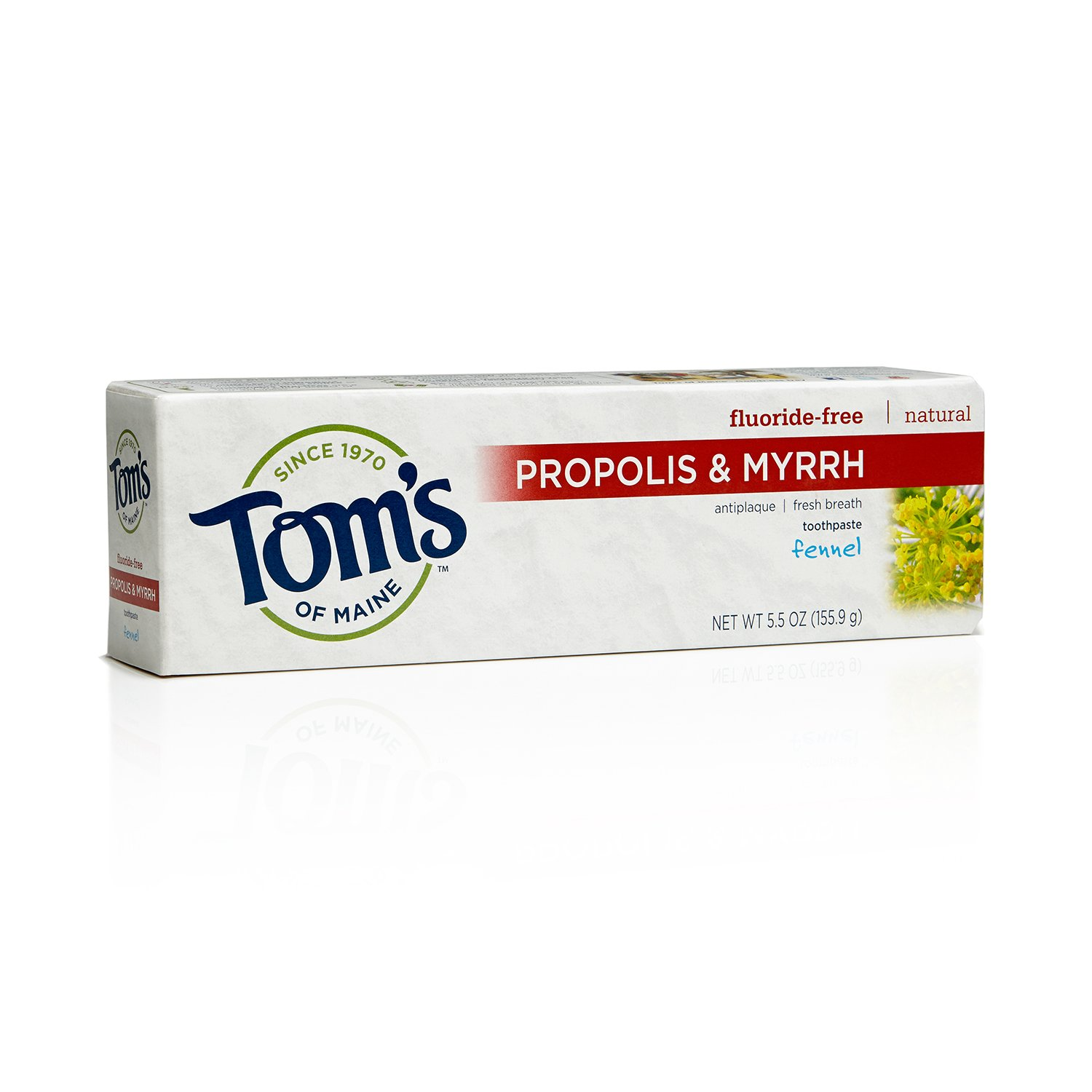 Tom's of Maine 683074 Fluoride-Free Natural Toothpaste with Propolis and Myrrh, Fennel, 5.5 Ounce, 24 Count