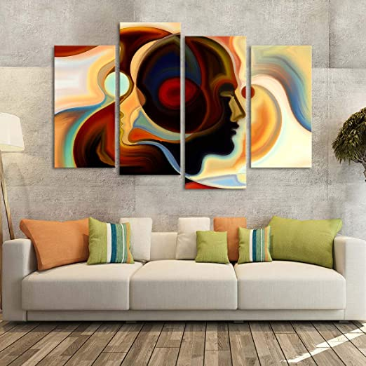 ART DECO COLOURFUL FACES MODERN CANVAS WALL ART PRINT PICTURE READY TO HANG