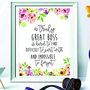 Boss Gift - A Truly Great boss is Hard to find - Office Gift - Office Décor - Going Away Retirement Gift - Personalized - Custom Quote Print - Gift for Boss Work Motivational Quote.