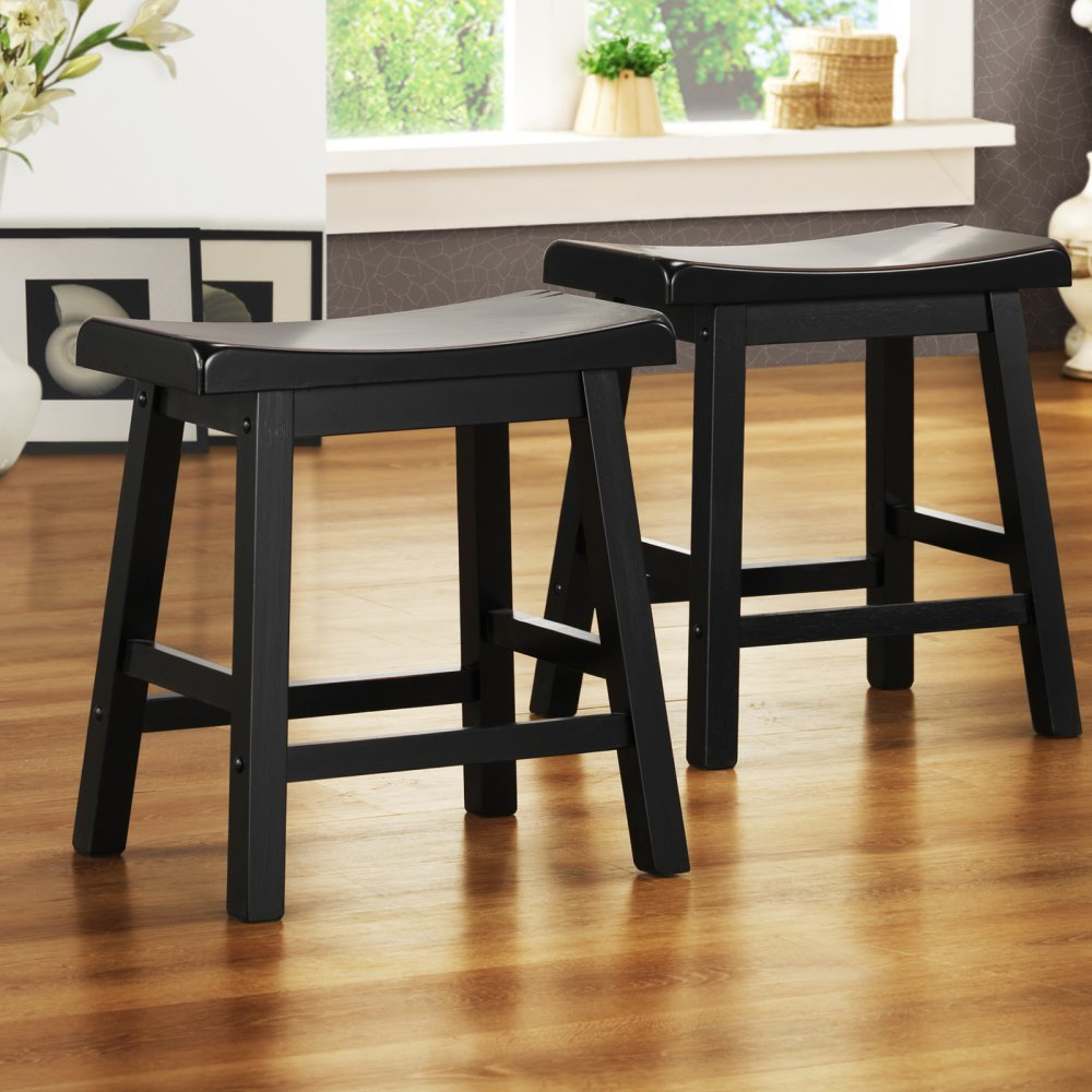 Weston Home 18 in. Saddle Back Stool - Set of 2 - Sand