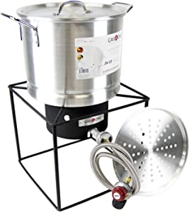 GasOne B-5105 Propane Burner Collapsible with Steamer Pot-Turkey Fry, Fish