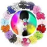 18 pcs Girls Hair Accessories Gift Pinwheel Polka Dot Kids Children Girls Hair Bows Tie Rubber Elastic Band Headbands