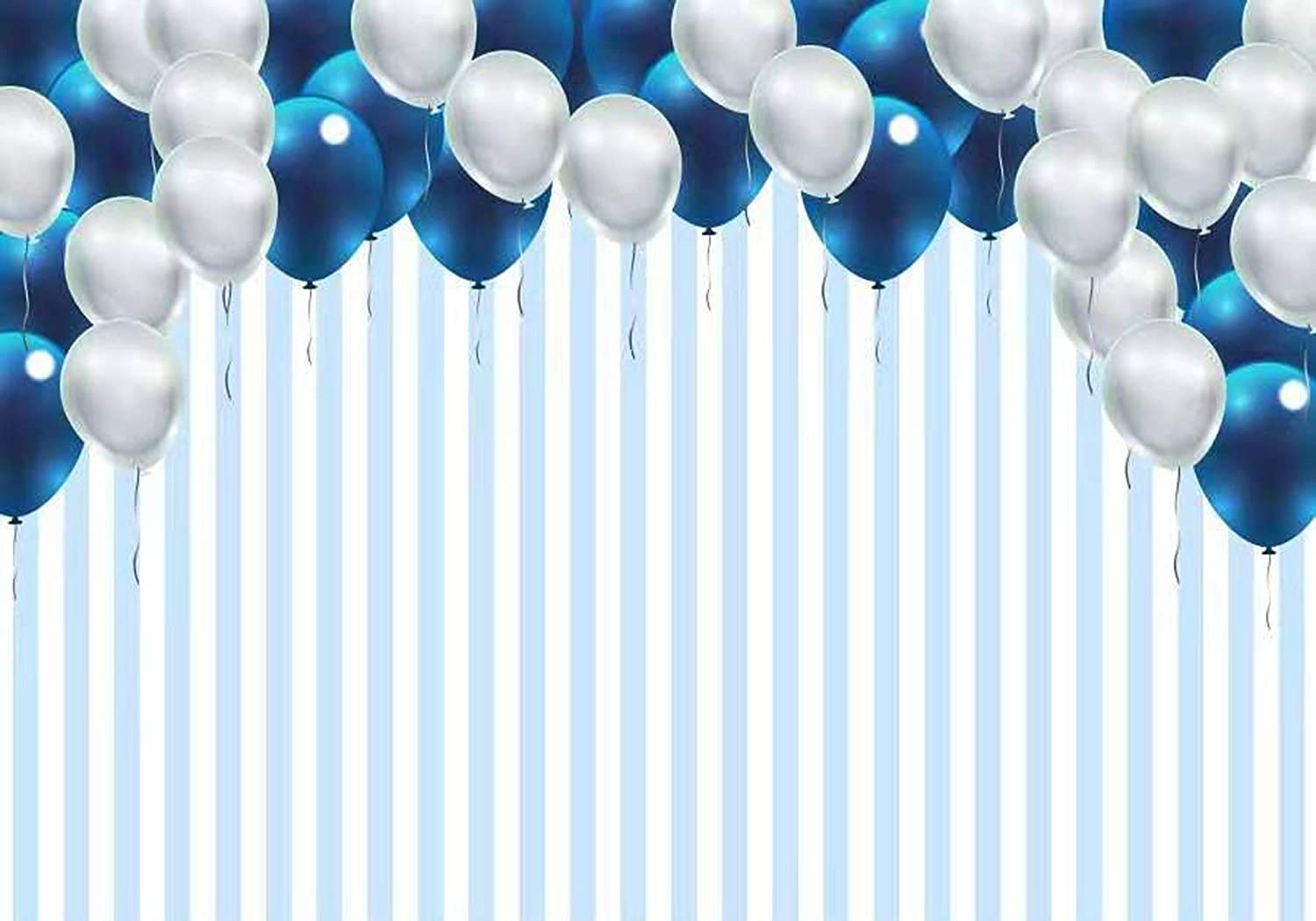 London Room Blue Stripes Birthday Banner Party Decoration Backdrop
