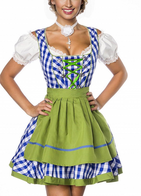 Dirndl Kleid Kostüm mit Schürze Minidirndl mit Karomuster und ausgestelltem Rockteil Oktoberfest Dirndl blau/grün/weiß