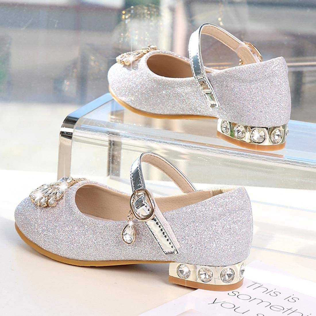 YIBLBOX Toddler Girls Glitter Mary Janes Kids Princess Shoes for Wedding Party Dress Low Heel Sandals