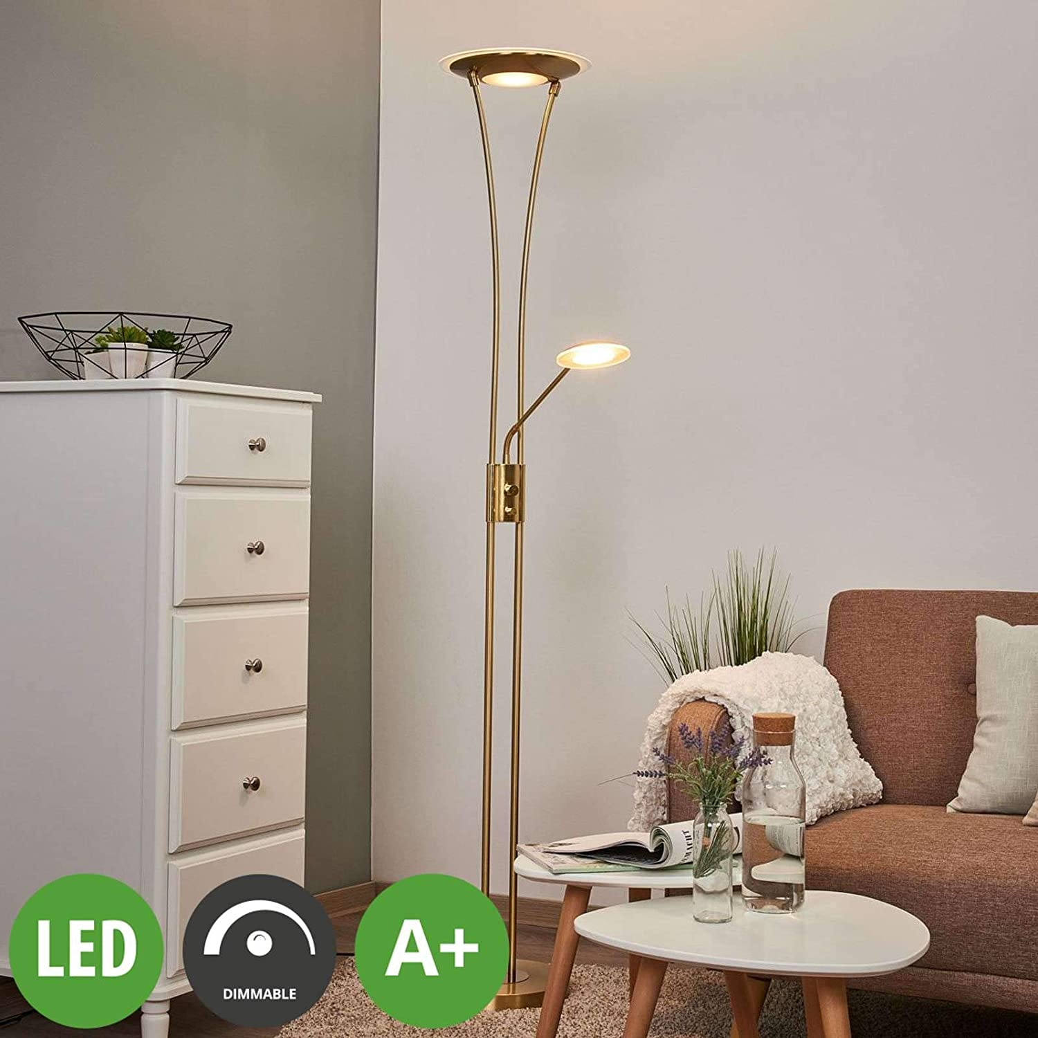 Lindby Led Stehlampe Eda Dimmbar Modern In Gold Messing Aus