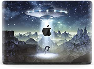 Mertak Hard Case for Apple MacBook Pro 16 Air 13 inch Mac 15 Retina 12 11 2020 2019 2018 2017 Science Fiction Plastic Cover Spaceship UFO Touch Bar Design Alien Abduction Stars Clear Laptop
