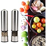 CoZroom Automatic Stainless Steel Salt and Pepper Grinders, Multi Spices, Multipurpose, Durable, Easy to Adjust and Refill Pack of 2