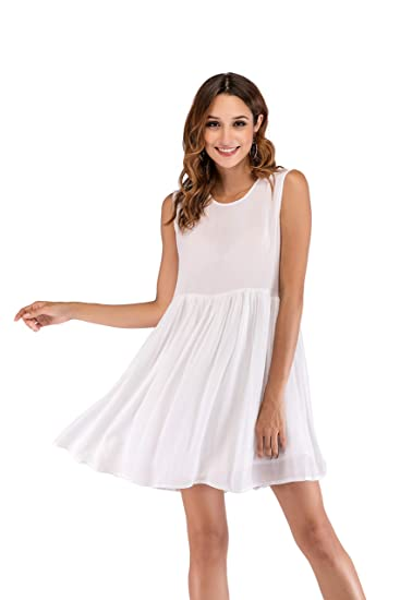 09bed852eb62 SUNNOW Women s White Sleeveless Swing Midi Dress Round Neck Tunic Flowy  Casual Summer Dress at Amazon Women s Clothing store