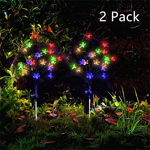 Forlive Solar Garden Lights Outdoor Beautiful Bright LED Solar Powered Landscape Flower Lights for Pathway, Yard, Patio, Deck, Walkway Decoration- Solar Flickering Tree Lights 2 Pack Colorful