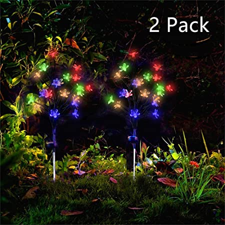 Outdoor Solar Powered Fake Lily Flower 4 LED Lights Garden Yard Patio DIY Lamps