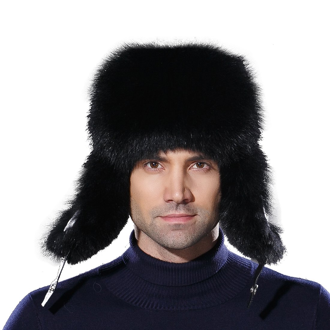 URSFUR Winter Russian Fur Hat Mens Real Fox Fur Ushanka Trapper Cap Black