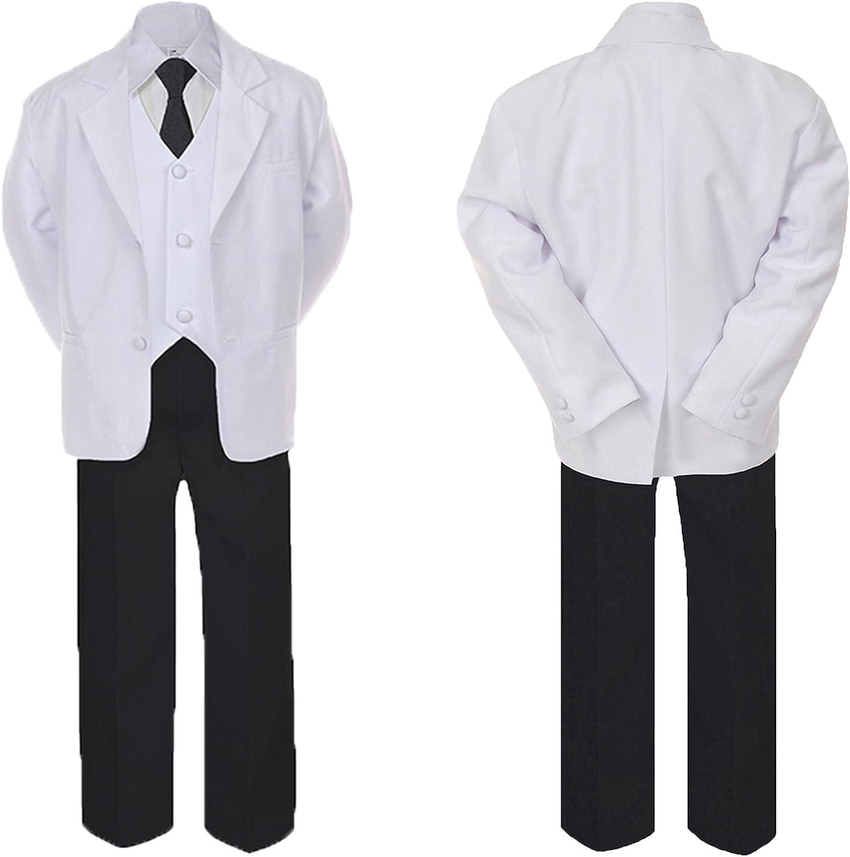 5-7pc Formal Black White Suit Set Navy Bow Long Tie Vest Boy Baby Sm-20 Teen