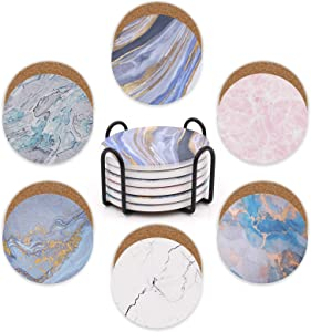 Coasters with Holder for Drinks Absorbent - Modern Marble Style Ceramic Coasters - Suitable for Coffee Bar, Wooden Table - House Warming Gift for Friends - Home, Kitchen and Apartment Decor, Set of 6