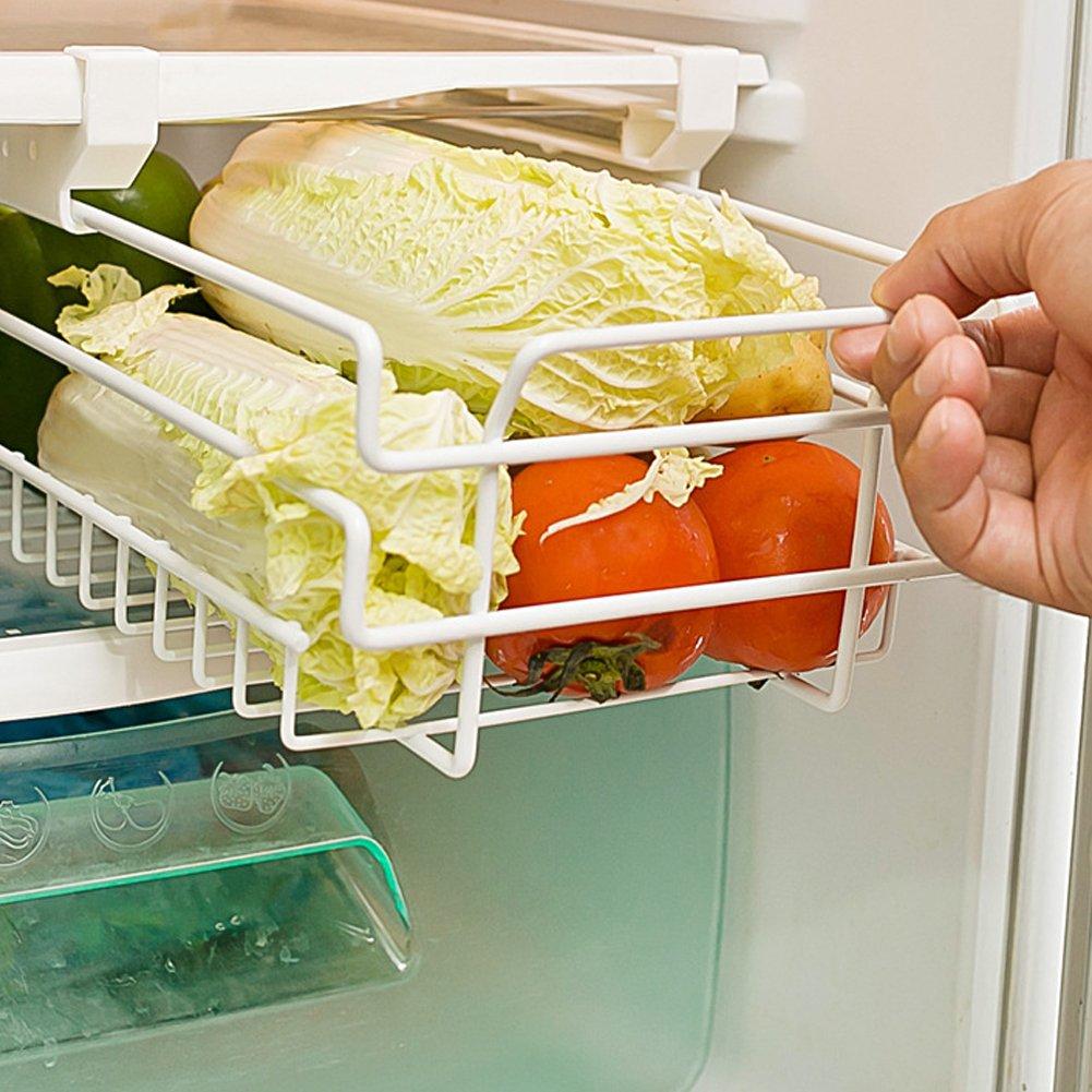 Ozzptuu Kitchen Refrigerator Freezer Under Shelf Space Saver Baskets Fridge Sliding Shelf Scalable Storage Rack Organizer