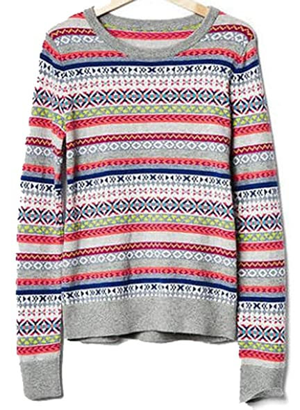 Gap Womens Crazy Fair Isle Stripe Merino Wool Blend Sweater S at ...