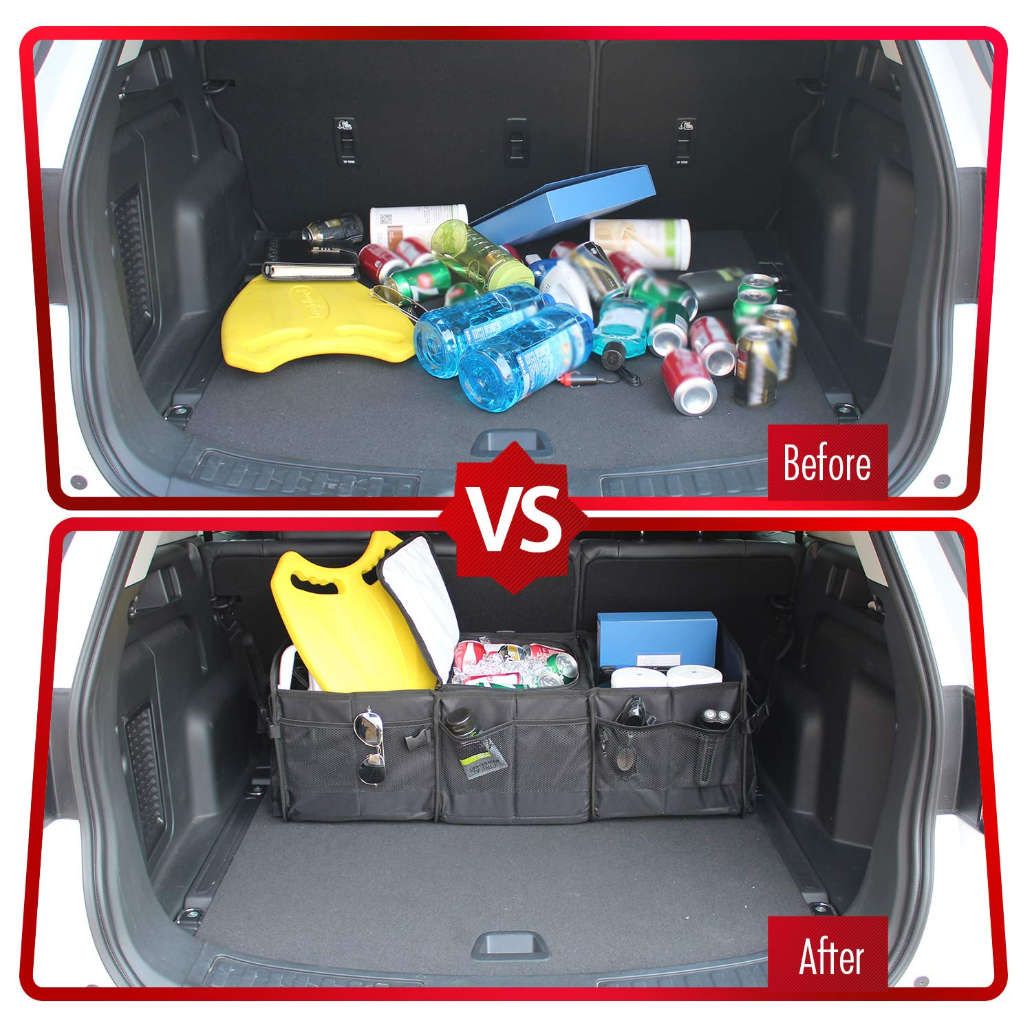 GEEDAR Trunk Organizer with Cooler Large Trunk Organizer with Built-in Leak-Proof Cooler Bag for SUV Toyota Hyundai Mazda KIA Subaru Accessories