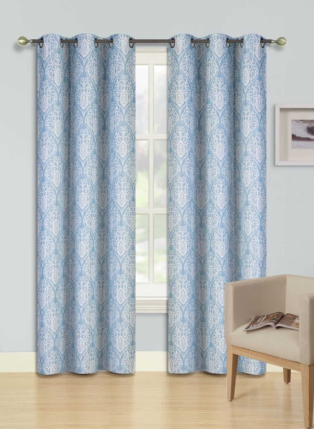 """GorgeousHomeLinen (F'S) 1 Panel 2 Tone Printed Design Room Darkening Thermal Blackout Window Curtain 63"""" or 84"""" Long, 3 Different Designs (84"""" Length, Sina-Blue)"""