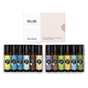 Edens Garden Roll-On Essential Oil 12 Set, 100% Pure Therapeutic Grade (Pre-Diluted & Ready To Use- Starter Kit), 10 ml Roll-On