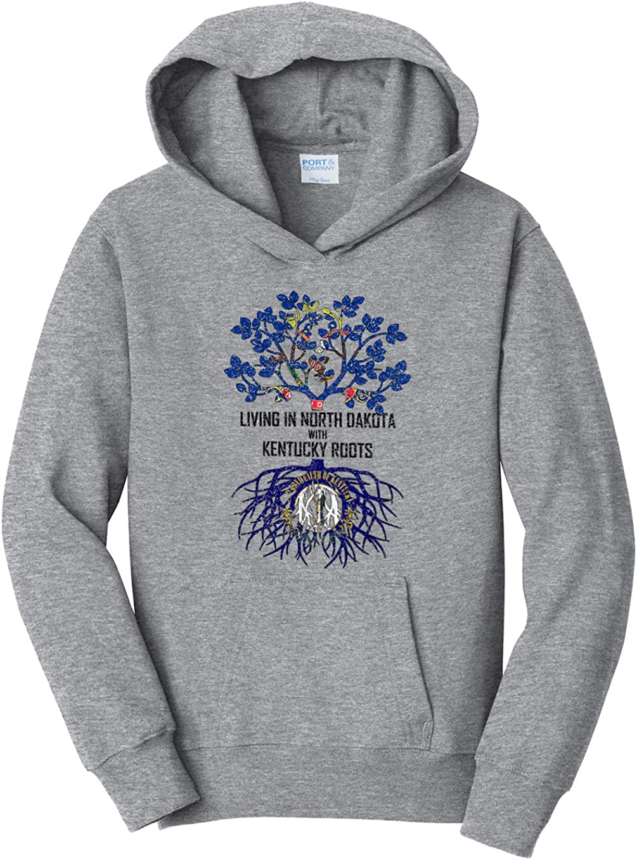 Tenacitee Girls Living in North Dakota with Kentucky Roots Hooded Sweatshirt