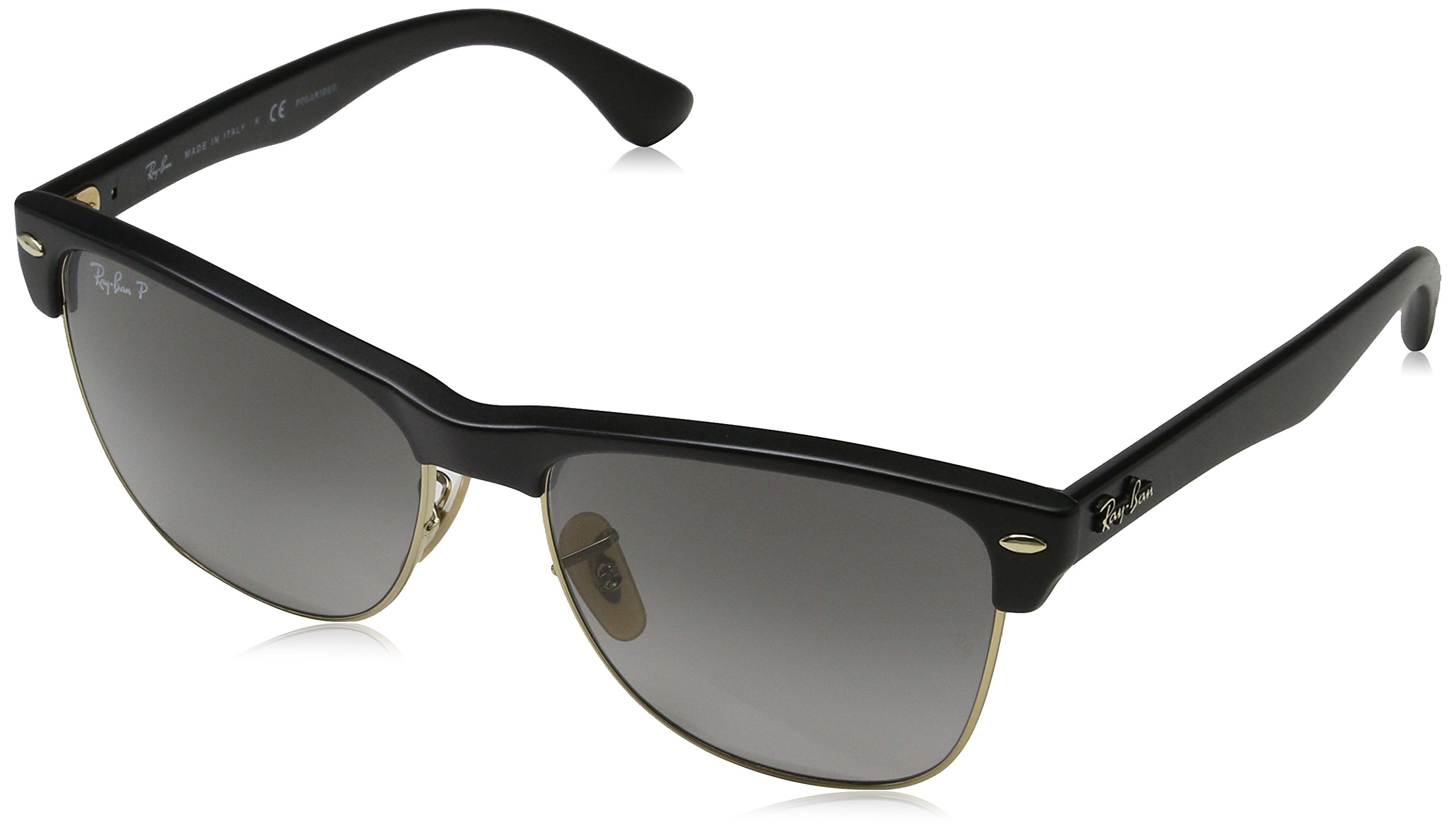 Ray-Ban RB4175 Clubmaster Square Oversized Sunglasses, Black Demigloss/Polarized Grey Gradient, 57 mm