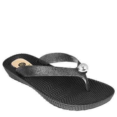 c712d88eab5 Thea Womens Soft Comfortable Rubber Sole Thong Sandals - Beach Sandals (8  UK