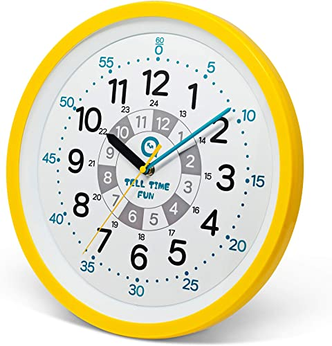 Tell Time Fun Large Kids Silent Analog Teaching Wall Clock. Kids Bedroom, Playroom, Study Room, Living Room, Classroom. Educational Material for Parents and Teachers. Sunrise Yellow