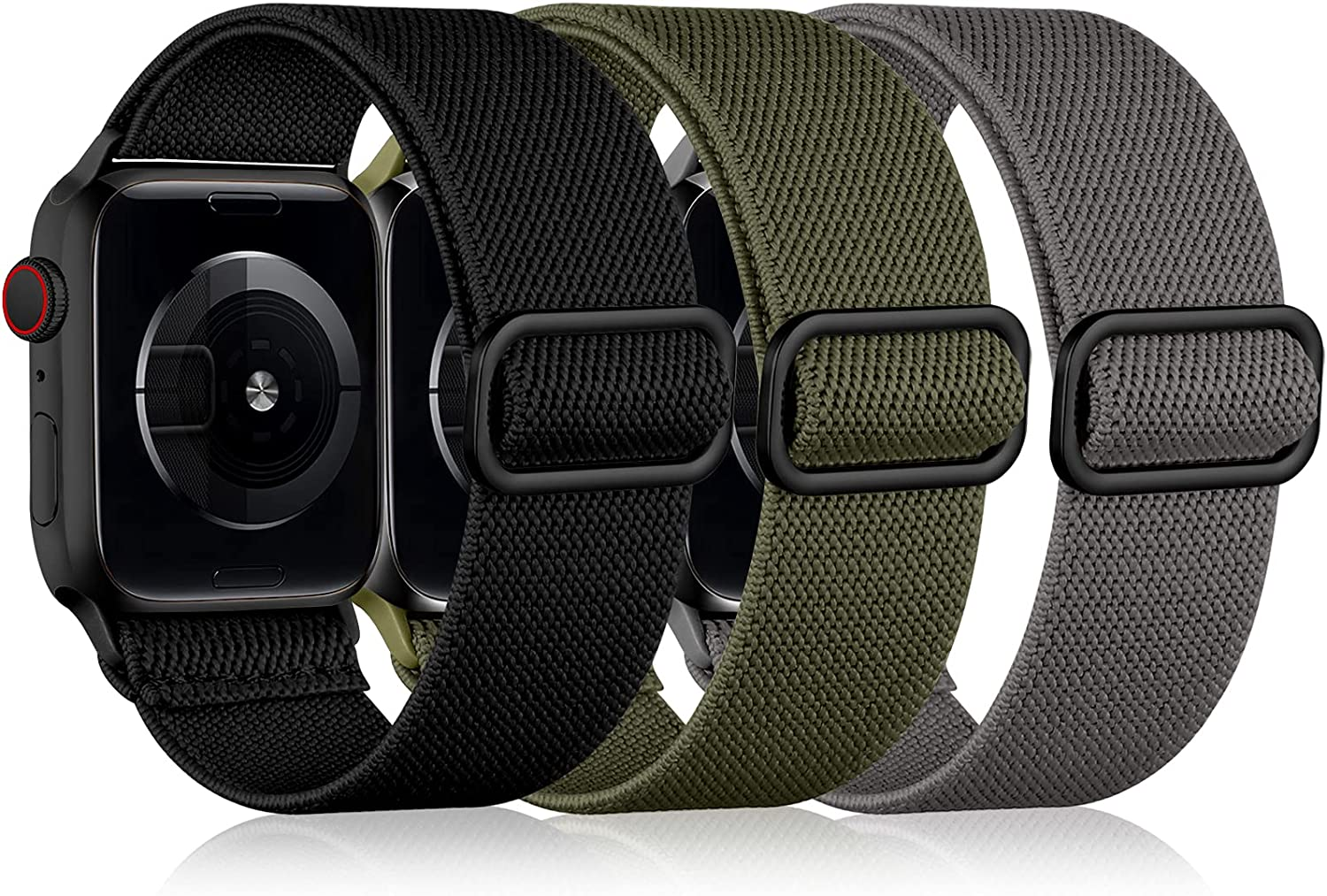 DaQin 3 Pack Stretchy Nylon Solo Loop Bands Compatible with Apple Watch Band 38mm 40mm 42mm 44mm, Adjustable Stretch Braided Sport Elastics Strap for Apple Watch SE iWatch Series 6/5/4/3/2/1 Women Men