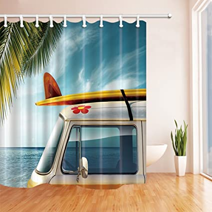 Cortina de ducha de tela de poliéster resistente al moho para decoración de tablas de surf