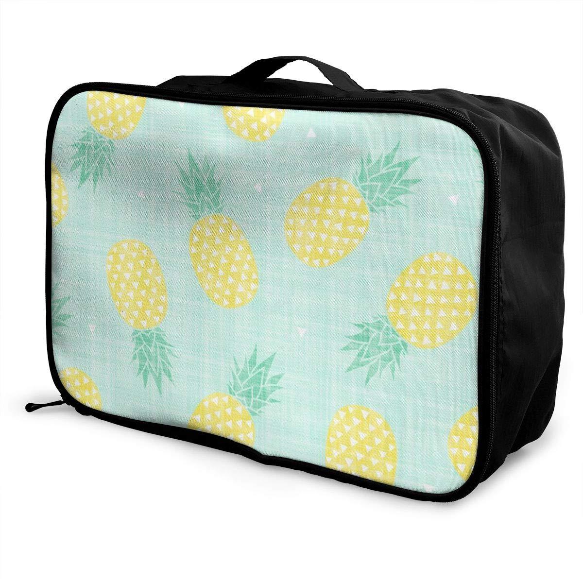 Travel Duffle Bag Pineapple Weekender Bag Waterproof Foldable Nylon Luggage Duffel Bag For Sports Vacation Hand Bag In Trolley Handle Gym Hiking