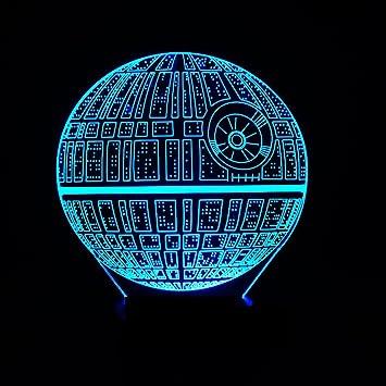 Wmshpeds Star Wars Estrella de la muerte colorido de las luces LED 3D acrílico Visual Stereo Luz en la base USB en color a distancia Lámpara de tabla ...