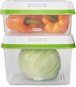 Rubbermaid FreshWorks Saver, Large Produce Storage Containers, 4-Piece Set, Clear