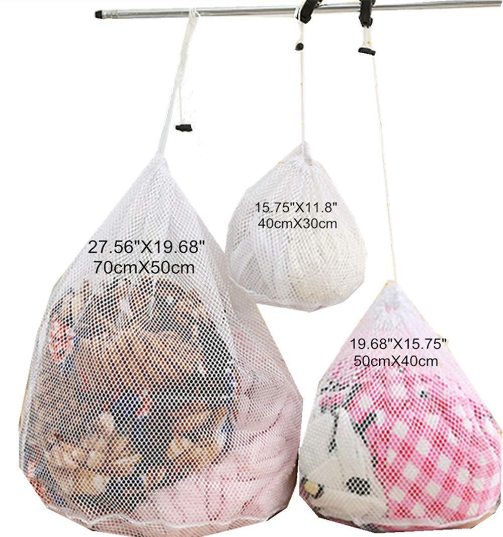ホワイト旅行メッシュランドリーバッグ巾着耐久性商用Collapsible Coarse Net洗濯バッグ 3pcs Mixed ホワイト B07FFV3Y2H  3pcs Mixed