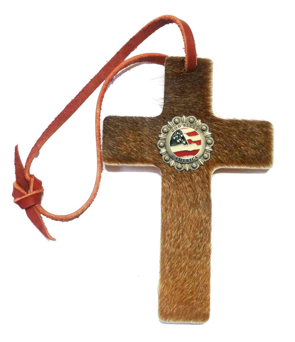 Custom God Bless America Hair on Hide Leather Saddle Cross. Made in Texas by Texans