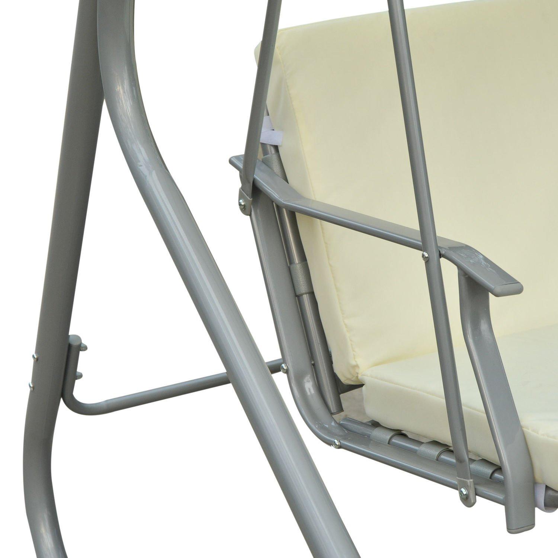 Outsunny Hollywoodschaukel Gartenschaukel Schaukelbank Schaukel 3-Sitzer Metall