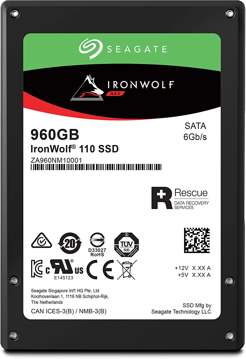 Seagate IronWolf 110 980GB NAS SSD Internal Solid State Drive – 2.5 inch SATA for Multibay RAID System Network Attached Storage, 2 Year Data Recovery (ZA960NM10001)
