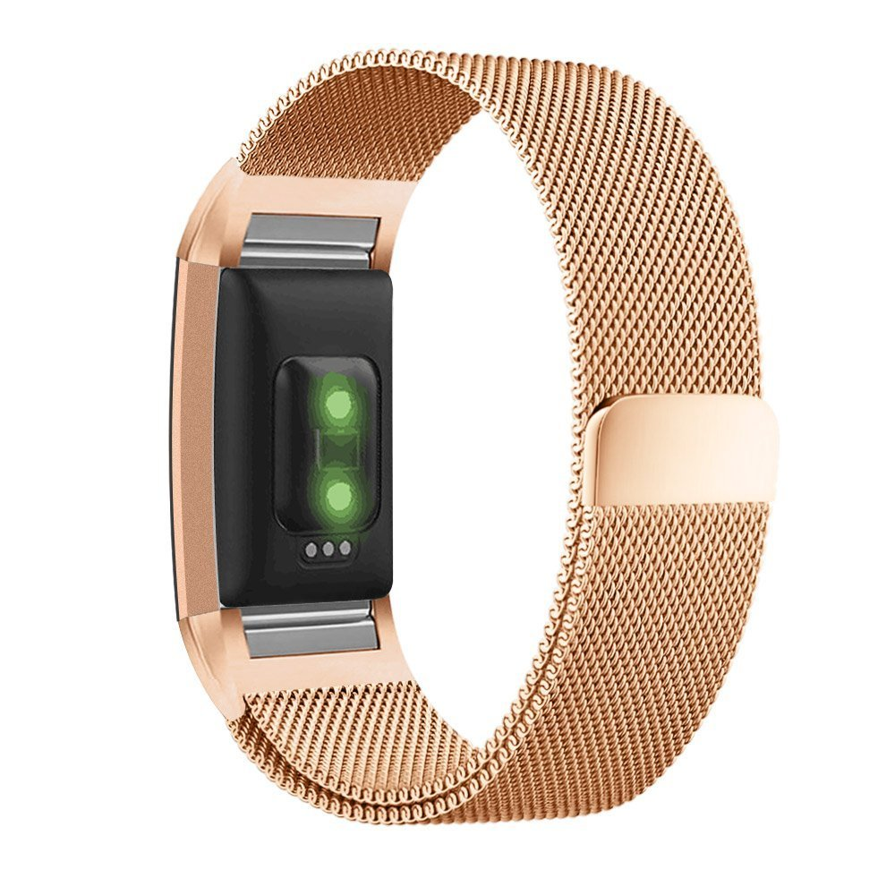 Milanese Loop Stainless Steel Metal Bracelet Strap with Unique Magnet Lock No Buckle Needed for Fitbit Charge 2 HR Fitness Tracker MLIYA Fitbit Charge 2 Band