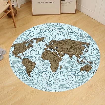 Amazon gzhihine custom round floor mat modern world map with gzhihine custom round floor mat modern world map with wavy ocean lines and flower themed continent gumiabroncs Gallery