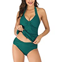Shuangyu Swimsuits for Women Halterneck Ruched Tankini Top with Matching Bottom Two Piece Bathing Suits Swimwear
