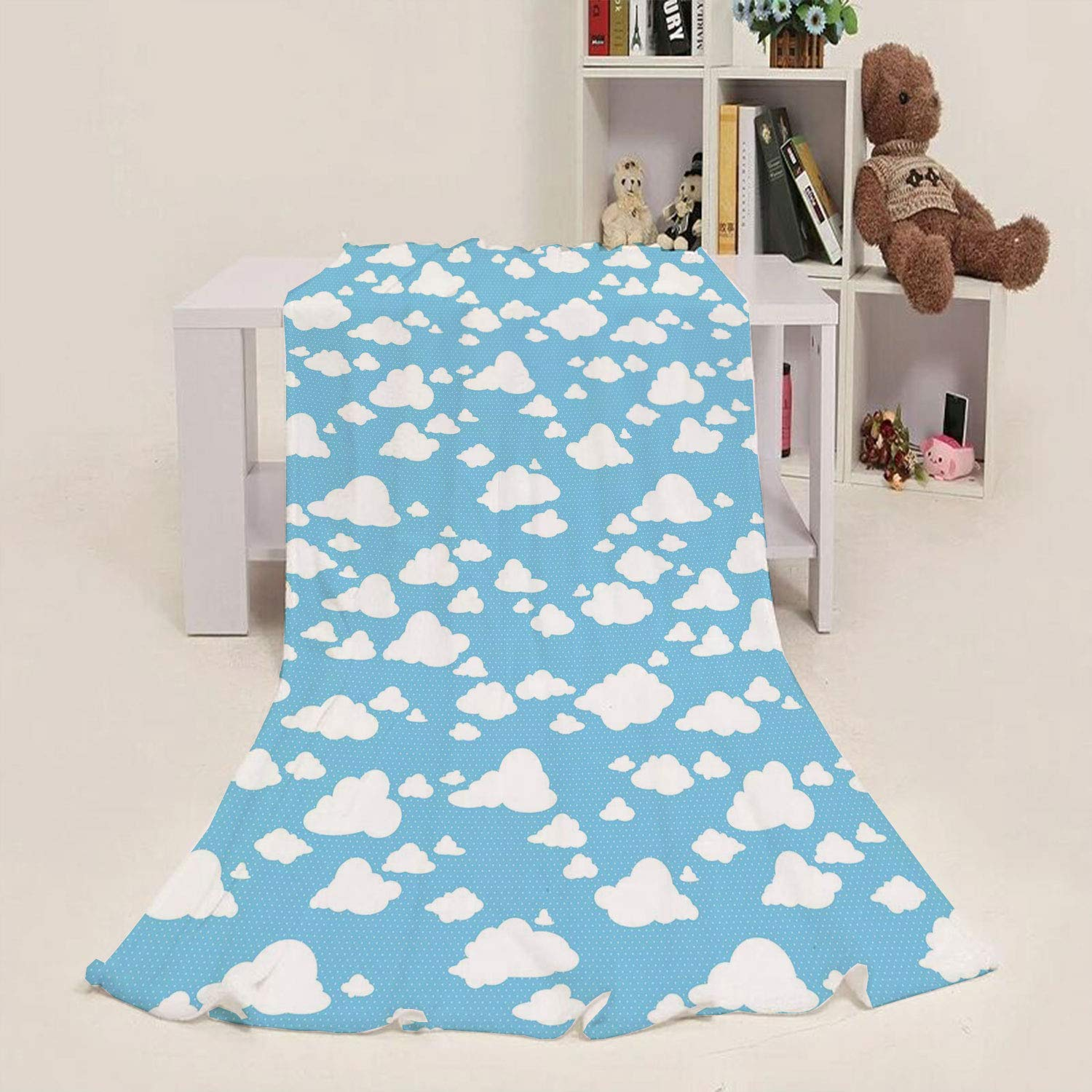 Throw Blanket Blue,Clear Summer Sky Pattern with Clouds Dotted Background Cartoon Style Kids Design,Sky Blue White 60''x 63'' Blanket for Baby Children Teens