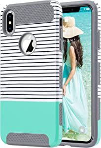 ULAK iPhone Xs Max Case, Slim Shockproof Protective Phone Case for Women, Hybrid Scratch Resistant Hard Shell TPU Bumper Back Cover for iPhone Xs Max, Mint Stripes