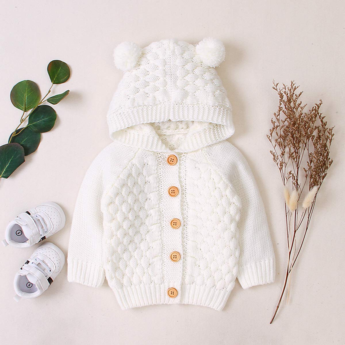 mtxtechnology Newborn Baby Fall Winter Knitted Solid Color Coat Hooded Sweater Jacket Outwear