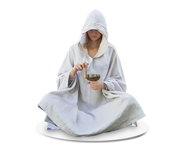 Live Up Meditationsumhang - Leinen-Mantel mit Kapuze Cape Unisex Yoga-buddhistische Entspannungs-Robe der Frauen der Frauen