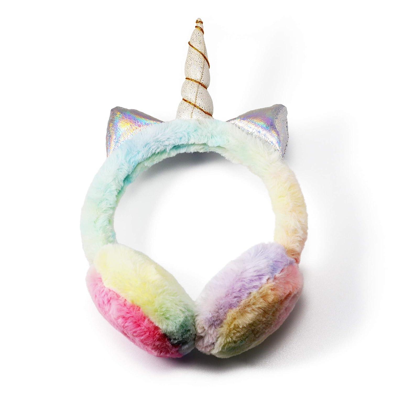 Zeltauto Girls Plush Earmuff and Scarf Winter Warmer Set Cute Cartoon Unicorn