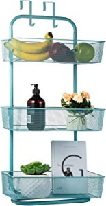 Over the Door Basket Hanger Organizer 3 Tier Hanging Basket Storage Rack Fruit Over Door Basket Shelves Free Standing for Kitchen Bathroom Bedroom Office Blue