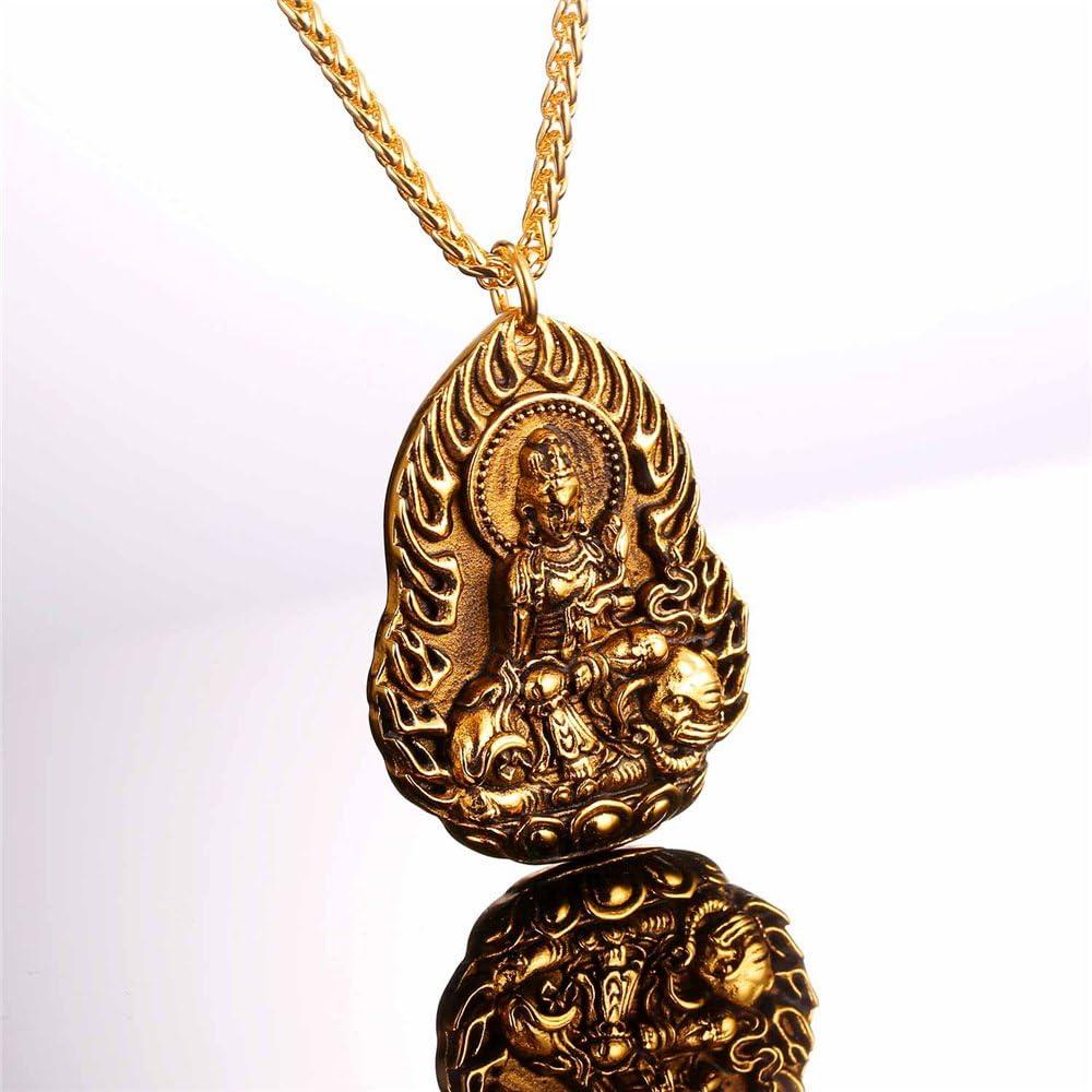 U7 Men Women Buddha Necklace Yogi Jewelry Buddhism Pilgrimage Gift Stainless Steel Guanyin//Gotama Siddhattha Head /& Praying Hand Pendant Necklace