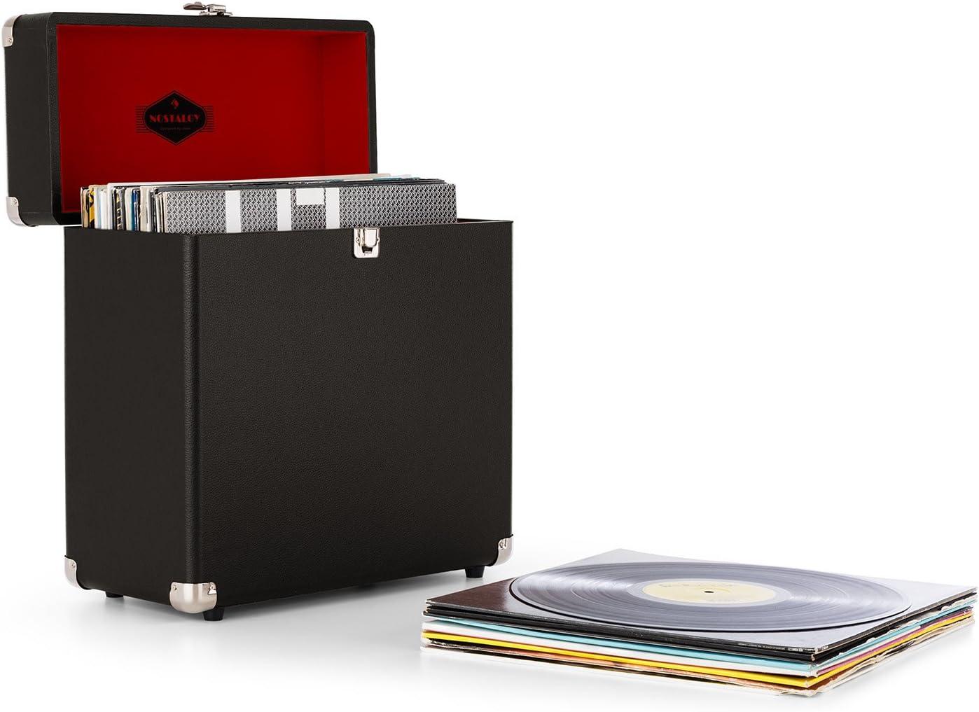 auna VinylBox Maleta Transporte Vinilo (Caja portátil Discos, 30Lp Capacidad, Interior Acolchado Aterciopelado, Cantos metálicos Resistentes Golpes, diseño Vintage) - Negro