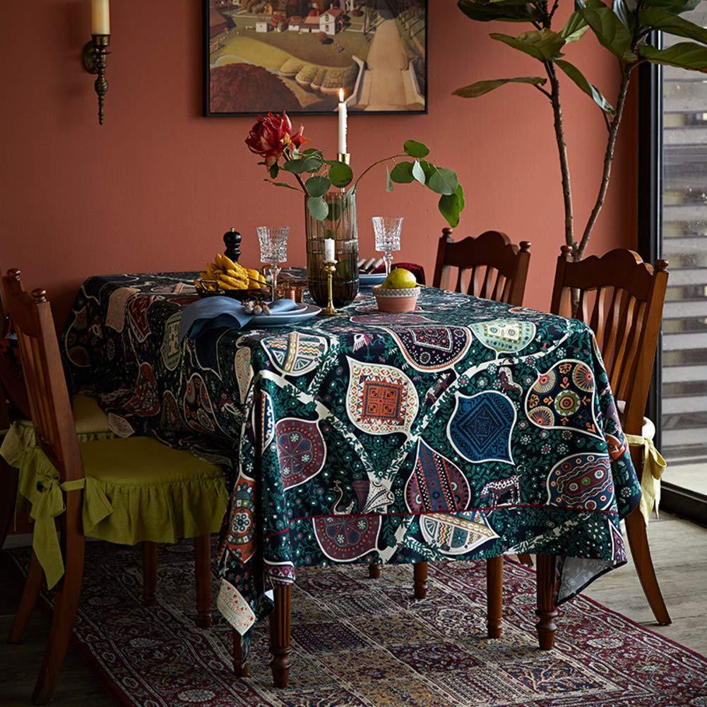 インドプリントテーブルクロス, ダイニングデスクトップの装飾のためのレトロな 100% コットンシワフリー洗えるテーブルカバー-b 170x170cm 170x170cm B B07SKJ7CR1