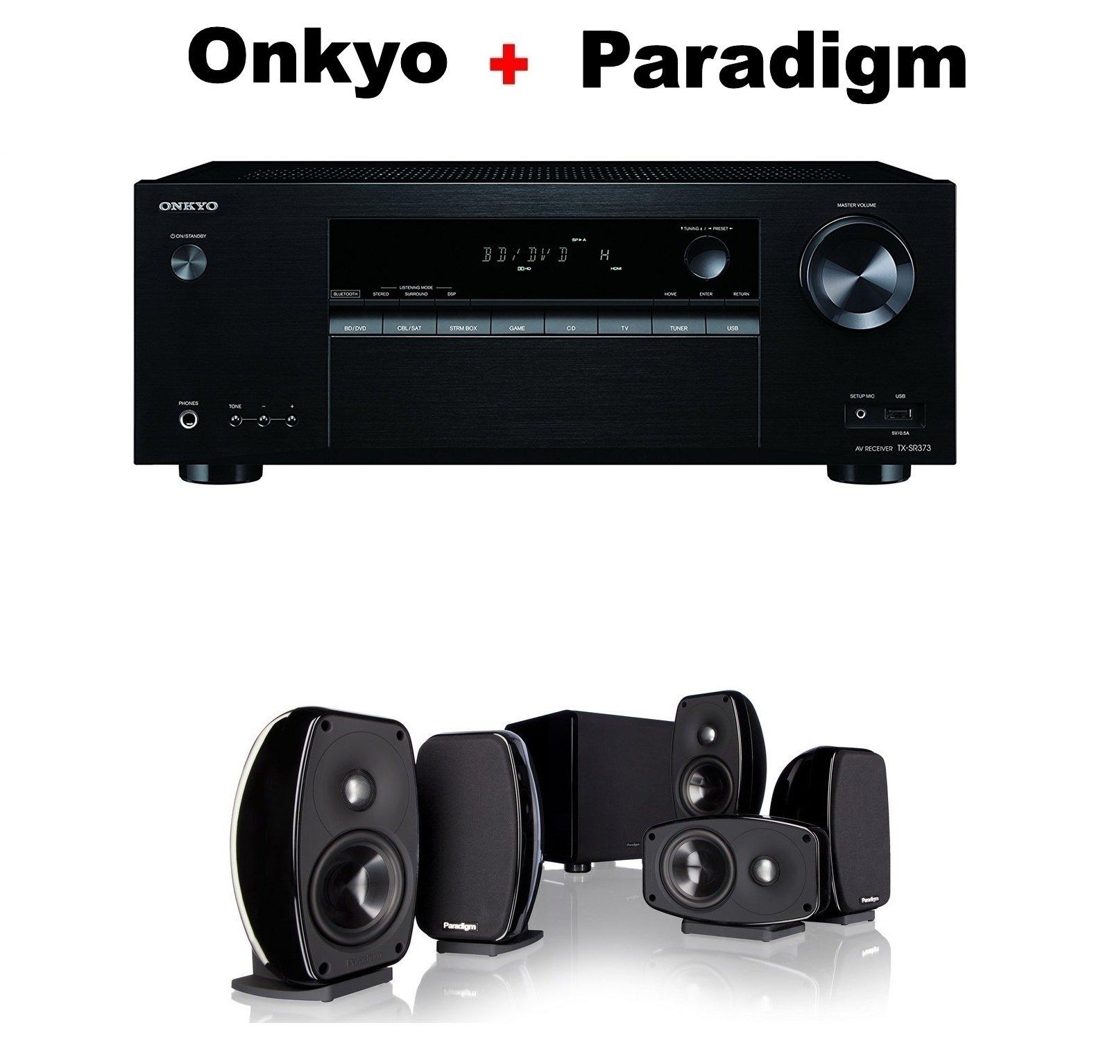 Onkyo Authentic Audio & Video Component Receiver Black (TX-SR373) + Paradigm Cinema 100 CT 5.1 Home Theater System Bundle